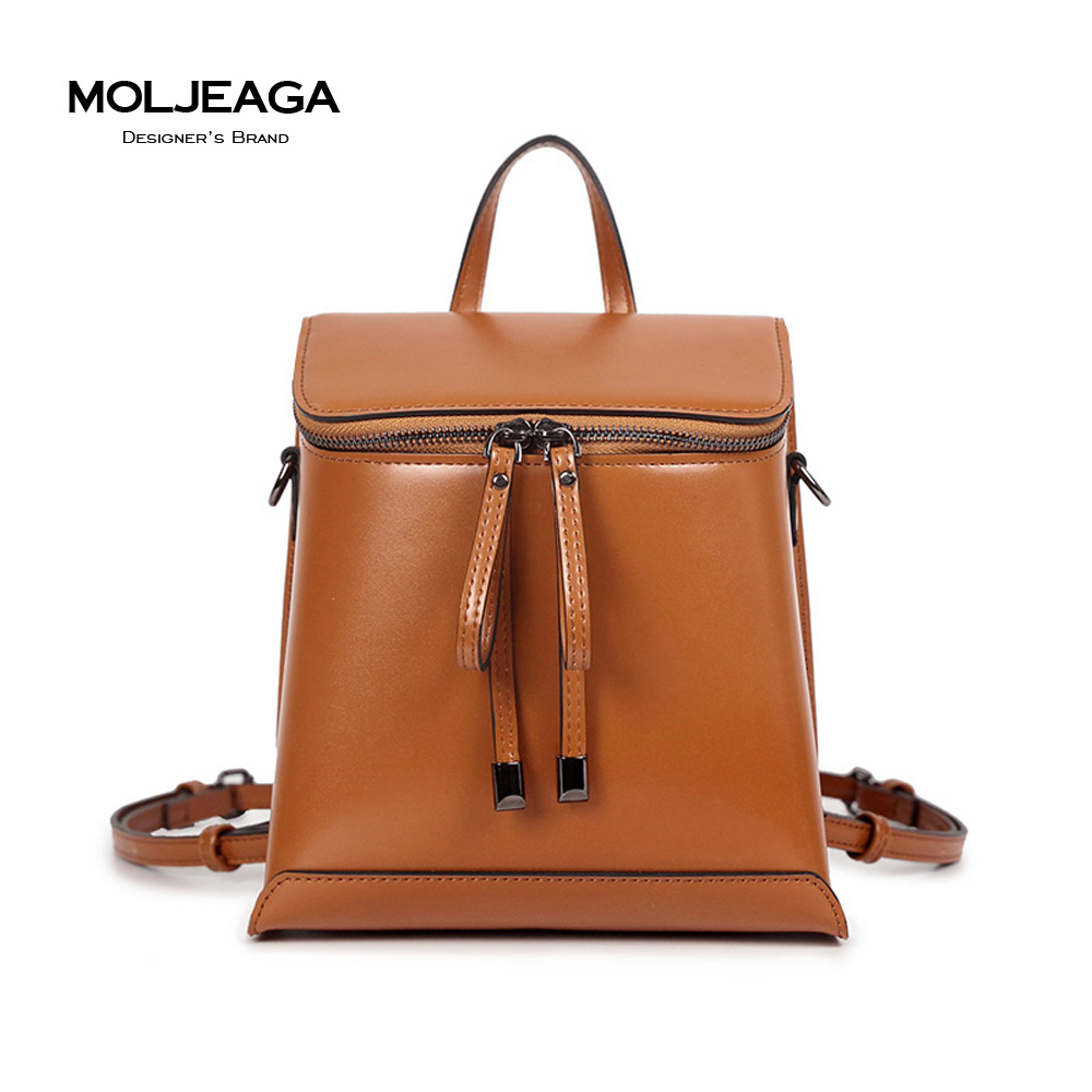 MOLJEAGA Brand High quality Women Backpack Oil Wax PU Ladies Double Shoulder Bags Fashion Vintage Student