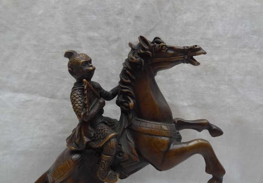 "S3361 פנינה voge שוו ב 9 ""סיני ברונזה עושר מטבעות WuKong שמש חיות קוף לרכב על סוס פסל דגל"