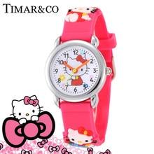 Children Cartoon Hello Kitty Watches 2016 Cool 3D Rubber Strap Kids Watch Quartz Watch Clock Hour Christmas Gift Relojes Relogio