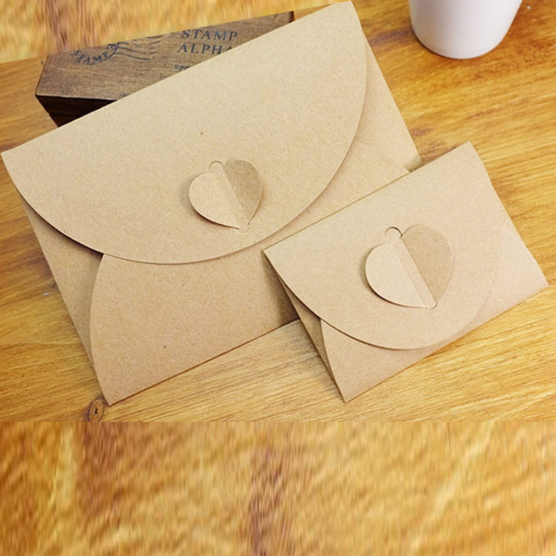 50pcs/lot Handmade Brown Paper Bag Mini Envelope Heart Kraft Vintage Envelopes Retro Stationery Set FP
