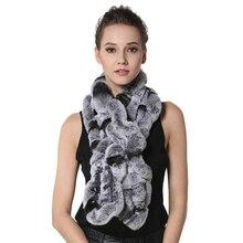 IANLAN Fashion Real Fur Scarf Wrap for Women Rex Rabbit Neckerchiefs Ladies Winter Warm Muffler Long Scarves IL00031