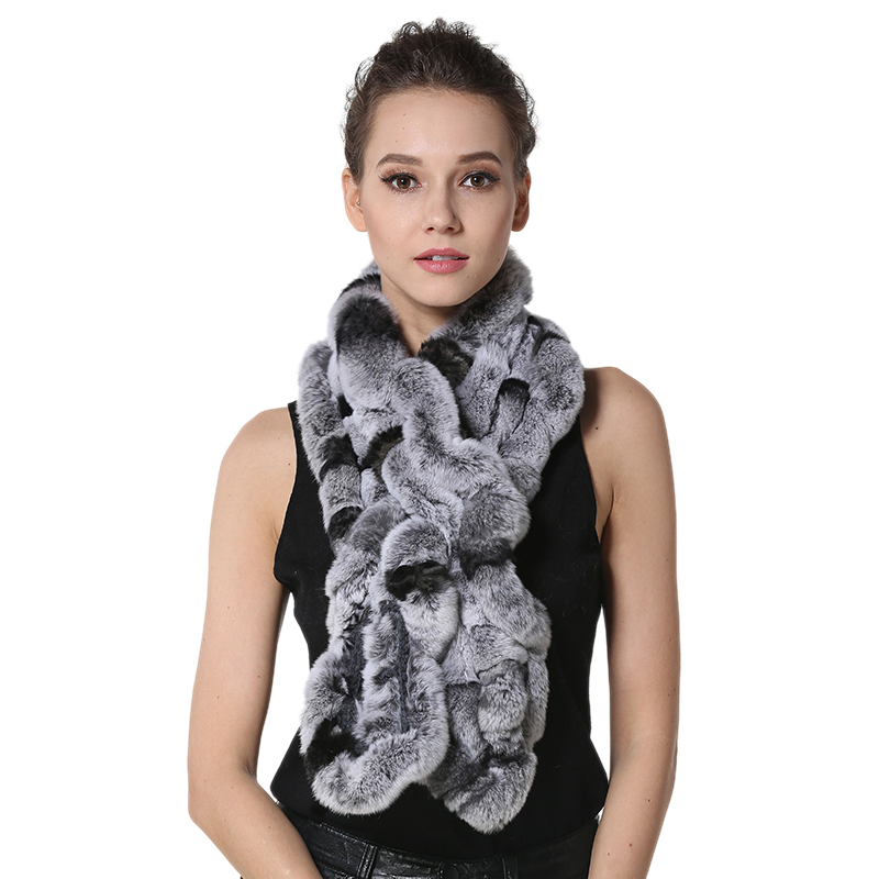 IANLAN Fashion Real Fur   Scarf     Wrap   for Women Rex Rabbit Fur Neckerchiefs Ladies Winter Warm Muffler Long   Scarves   IL00031