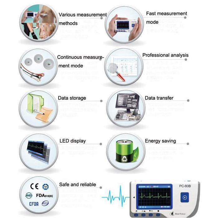 Household Health Monitors Heal Force PC-80B ECG Monitor Measuring Heart Cardiac Detector LCD Electrocardiogram Heart Monitor 2