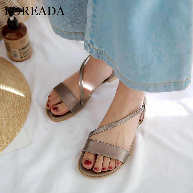 Sandalias Foreada Verano Zapatos De Mujer Cuero Planas Presupuesto txhdosrBQC