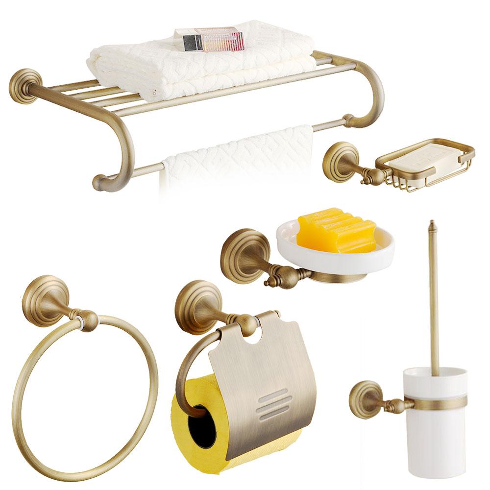 Antique round base bathroom hardware sets brushed bronze for Bronze bathroom accessories set