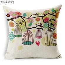 New Hot Shiny Nordic Simple Cute Bird Birdcage Cushion Linen Cotton Home Decor Sofa Throw Pillow Girls Room Almofada Real Betis все цены