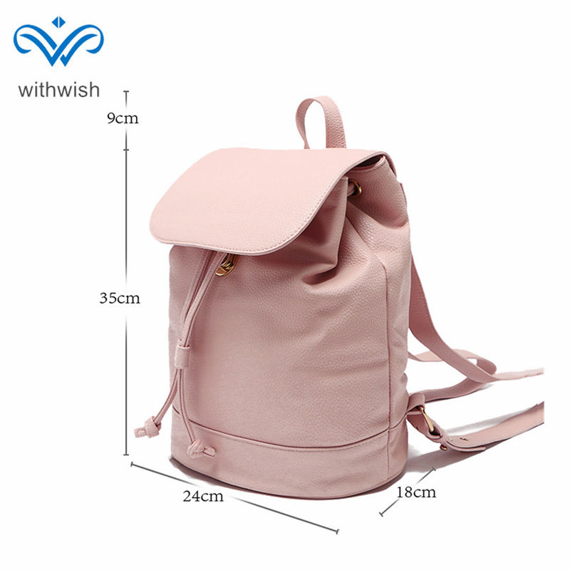 White/Pink 2-color Waterproof PU Leather Backpack Fashion Simple Women Shoulder Bag Casual Travel Rucksack Hand Bag For Girls women backpack fashion pvc faux leather turtle backpack leather bag women traveling antitheft backpack black white free shipping