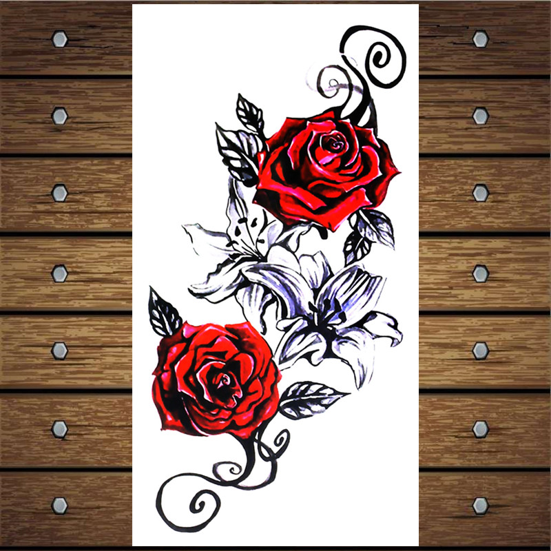 Y-XLWAN Rose Pattern Men's Creative Sticker Ms. Temporary Tattoo Disposable Waterproof Tattoo Sticker Wall Sticker