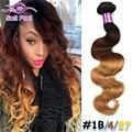 Blonde Brazilian Body Wave Hair Weave Ombre 1Bunde T1B/4/27 Queen Hair Brazilian Body Wave Remy Human Hair Extension Mink Bundle