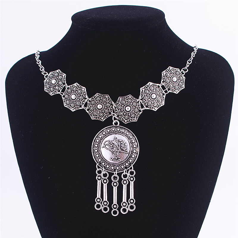 Hot Sale Gypsy Ethnic Tribal Turkish silver Coin Chain Necklace Tassel Jewelry XL-573