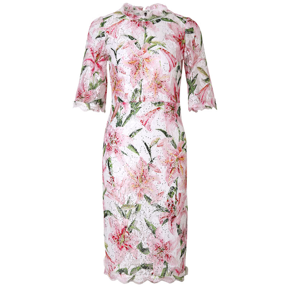 Red RoosaRosee Luxury Sequins Embroidery Short Sleeve Pink Floral Print Lace Dress Women Summer 2019 Pencil