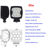 2pcs 50w 80w Led Work Light 4 3inch Led Work Lamp 5 5inch Offroad Led Driving
