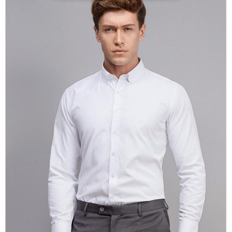 Custom men 39 s long sleeve white solid dress shirt cotton for Button down uniform shirts