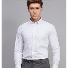 custom Men's Long Sleeve White Solid Dress Shirt Cotton Blend Classic-fit Twill Button Down Formal Shirts (Without Tie)