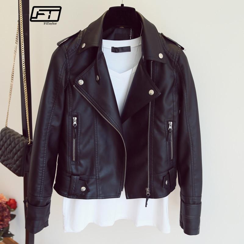Mujer 2019 nuevo diseño primavera otoño chaqueta de cuero de la PU imitación de cuero suave abrigo Slim negro remache cremallera motocicleta Rosa chaquetas