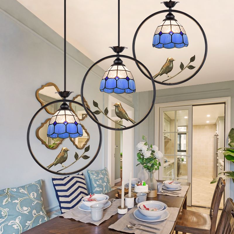 Creative pastoral winds porch aisle American style country modern round sun birds Pendant lamp LO8108 pastoral birds pattern cushions cover pillowcase
