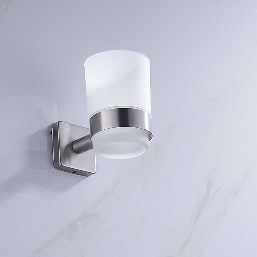 Modern Duvara Monte diş fırçası kabı Tutucu Paslanmaz Çelik Yuvarlak Bardak Organizatör Raf Raf Banyo Aksesuarları (Gümüş)