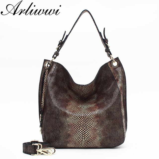 Arliwwi Brand Flat Elegant Designer Simple Style Women Real Leather Handbags New Serpentine Embossed Pattern Shoudler