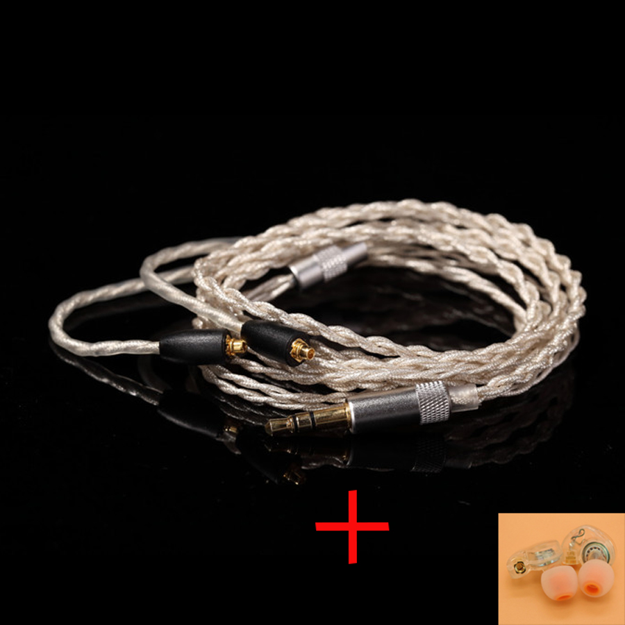 MMCX Earphone Upgrade Cables For Shure SE215 SE535 SE846 Headset Silver Plating Cable Headphone Wire with Heat Shrink Tubing diy earphone cable upgrade wire pure silver cable for mmcx tf10 w4r im50 cks 2 5mm 4 4mm plug balance line