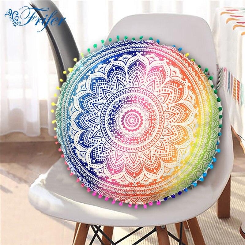 Round Mandala Floor Pillow Case Cover Indian Bohemian Cushion Cover Sofa Throw Decorative Boho Pillowcase 43cm 13 Types