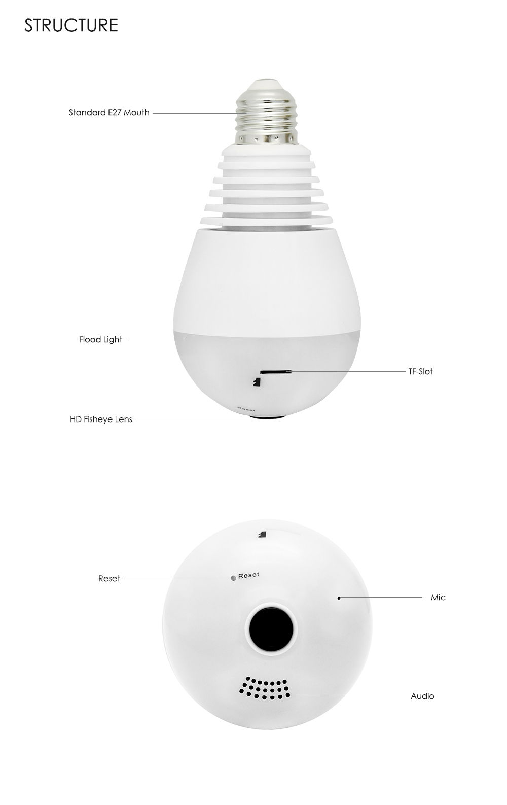Wistino 960P Wireless VR Panoramic IP Camera Bulb Light Wifi FishEye 360 degree CCTV Surveillance Security Monitor Comone 1 (10)