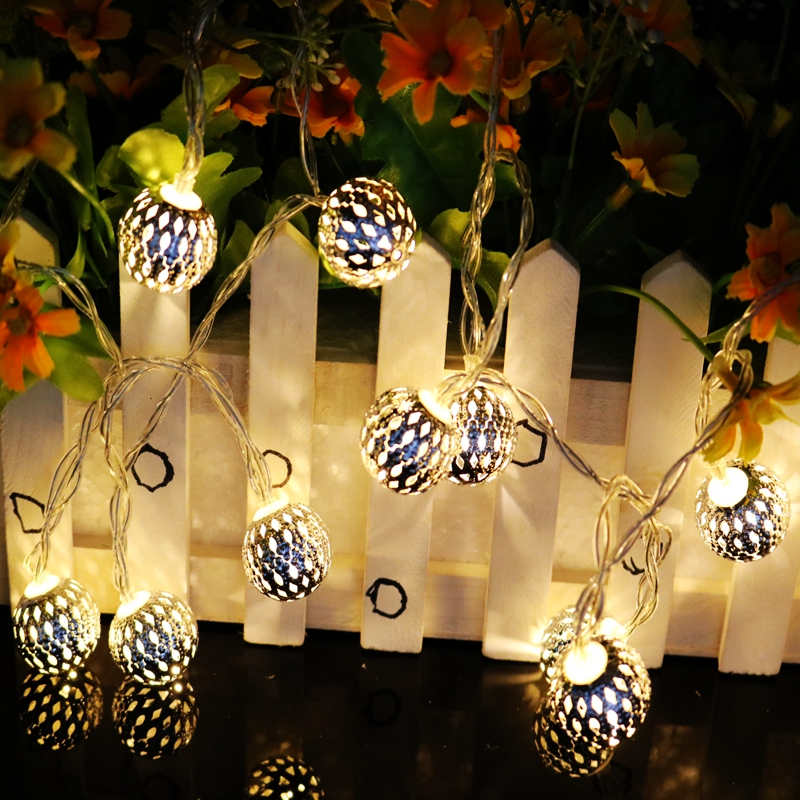 new 1 2m 10led hollow small iron ball string light for christmas