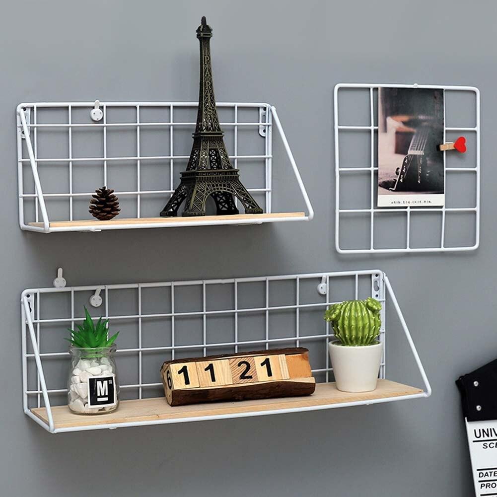 Lovely Multifunctional Metal Wood Wall Hanging Shelf Modern Simple Loft Dorm Free Punching Storage Shelf @LS AU07 Полка