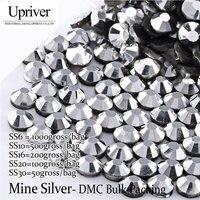Toplu Ambalaj En İyi Kalite Parlak Cam Gri Tutkal SS6 SS10 SS16 SS20 SS30 Maden Gümüş Düzeltme Rhinestones
