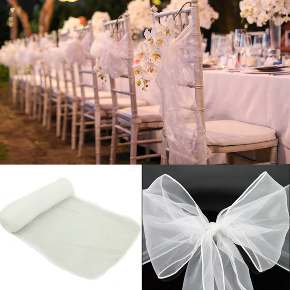 White chair covers with white sash - New Colors Chair Cover Sashes Organza Material 100 Pcs Wedding Sash Wedding Party Wedding Decorations Bow In Sashes From Home Garden On Aliexpress Com