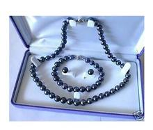 women big Jewelry Genuine Natural Freshwater 7-8mm Black Akoya Cultured Pearl Necklace Bracelet Earring Set no box