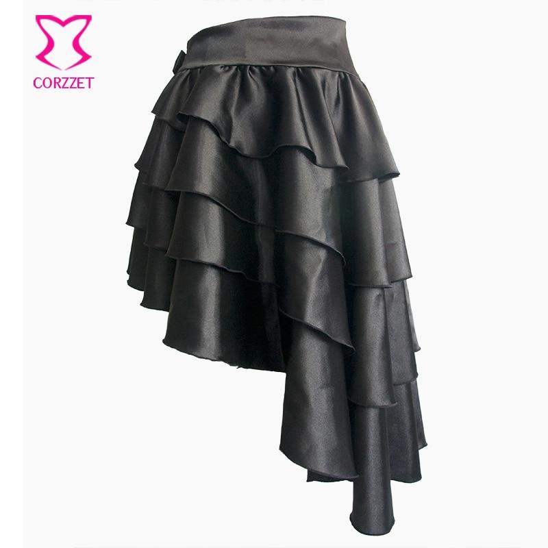 Falda gótica asimétrica con capas de satén negro con volantes - Ropa de mujer - foto 3