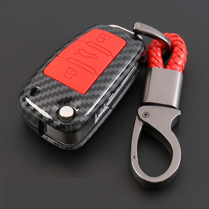 ABS Carbon Fiber Shell+Silicone Cover Remote Key Holder Fob Case&KeyChain For Audi A1 A3 A5 A6 Q3 Q7 C6 A7 A8 Accessories