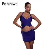Feiterawn 2017 Women Sexy Bandage One Piece Swimsuit Blue Wrap Skirt Swimwear Female Lady Summer Strappy