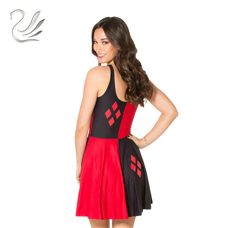 196b3519f8009 US $10.58  New Summer Vestido HARLEY QUINN Print Dresses Sexy Siamese  Pleated Dress Woman Sleeveless Reversible Skater Dress-in Dresses from  Women's ...