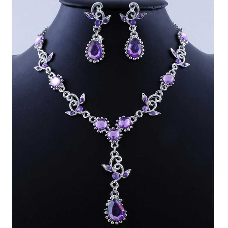 Pink Top Purple Crystal Vintage Jewelry Sets Necklace Earrings Bridal Wedding Engagement Jewelry Accessories Crystal Sets