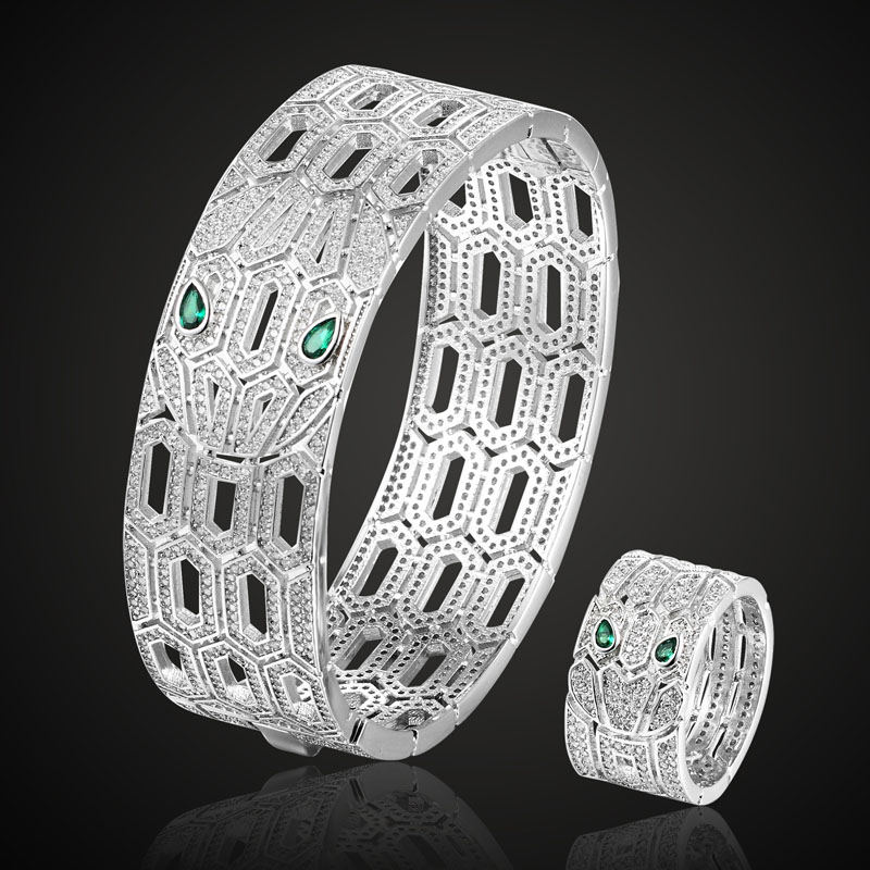 Big Green Eye Cubic Zircon Snake Bangles and ring Jewelry Sets for Women men Party Accessories cubic Zirconia Bangle&Anel Aneis blucome cubic zirconia nail rings bridal jewelry fashion women s copper finger ring bridal ring accessories aneis anel ouro