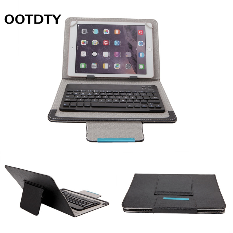 OOTDTY 7-10inch Black PU Leather Detachable Wireless Bluetooth Keyboard With Tablet Cove ...