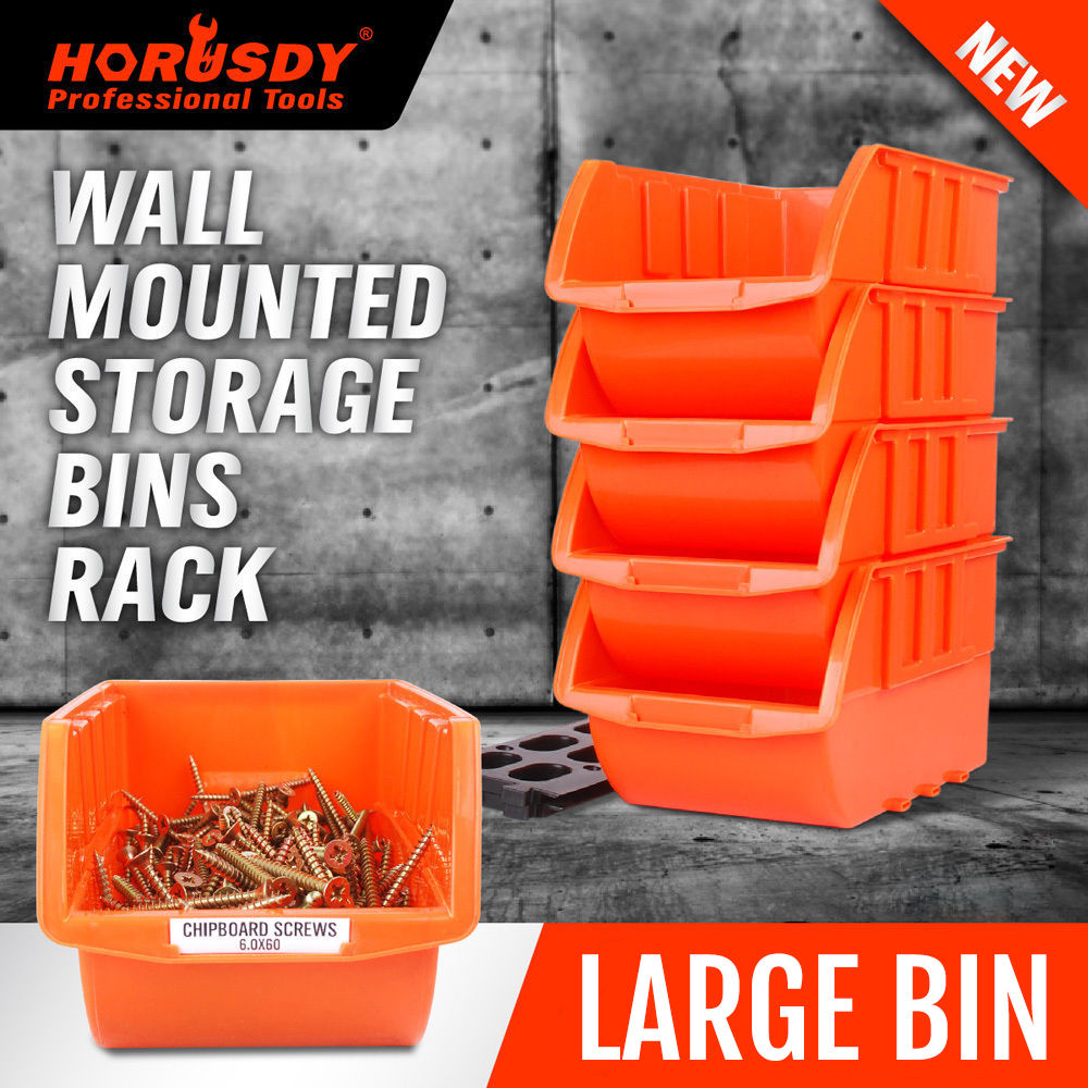 HORUSDY 4Pcs Parts Storage Bins Tool Organizer Rack Box Workshop Tray With Wall Mounted Board Tool For Car Parts Finishing