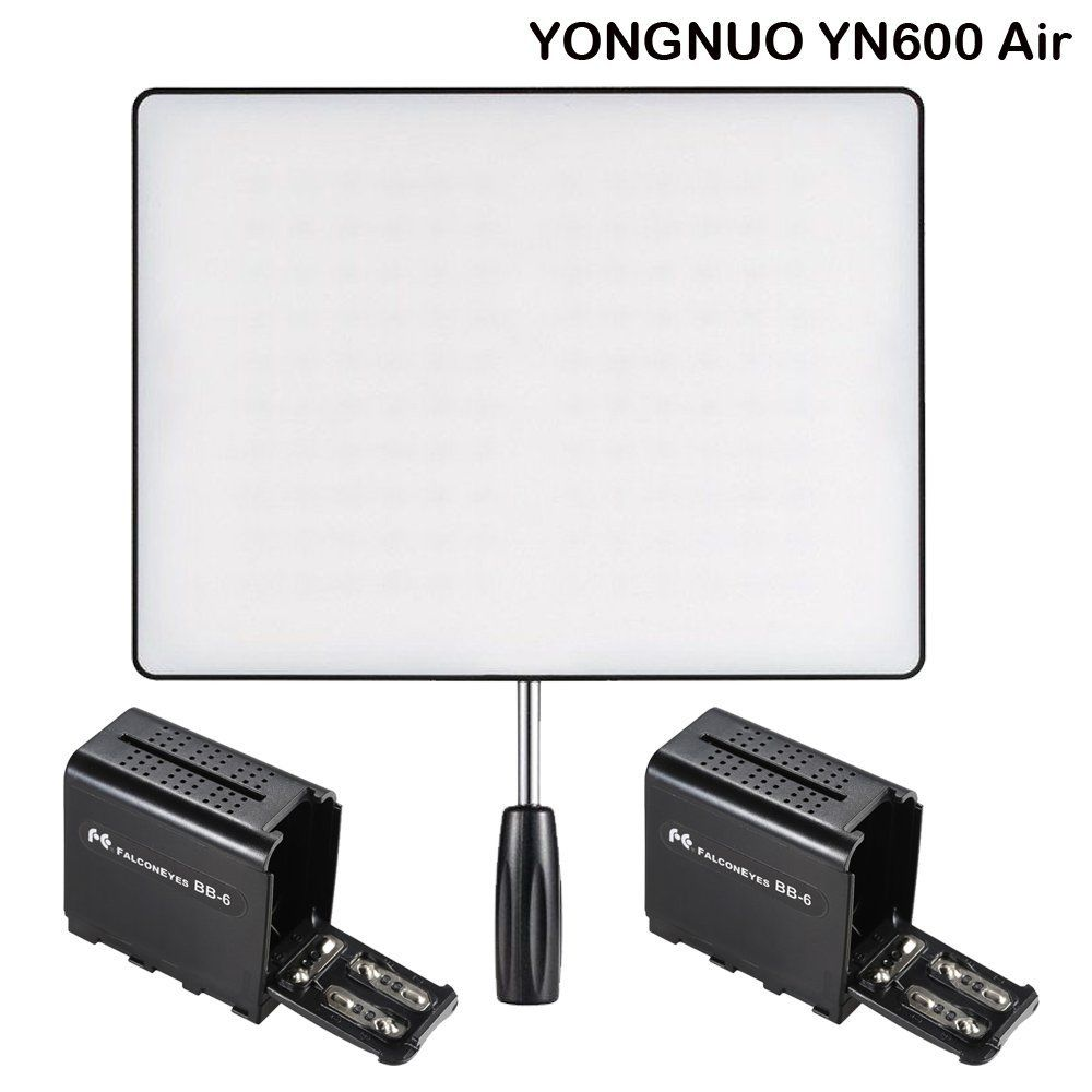 YONGNUO YN600 Air Led Video Light Panel 5500K and 3200K-5500K Bi-color Photography Studio Lighting for DSLR Camera & Camcorder