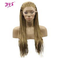 Deyngs Long Braid Straight Lace Front Wigs For Black Women African American Blonde Color Hair Natural Synthetic Lace Hair Wig