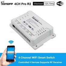 Sonoff 4ch pro r2 10a/gang 4 canais wifi interruptor inteligente 433 mhz rf remoto wi fi luzes interruptor suporta 4 dispositivos funciona com alexa