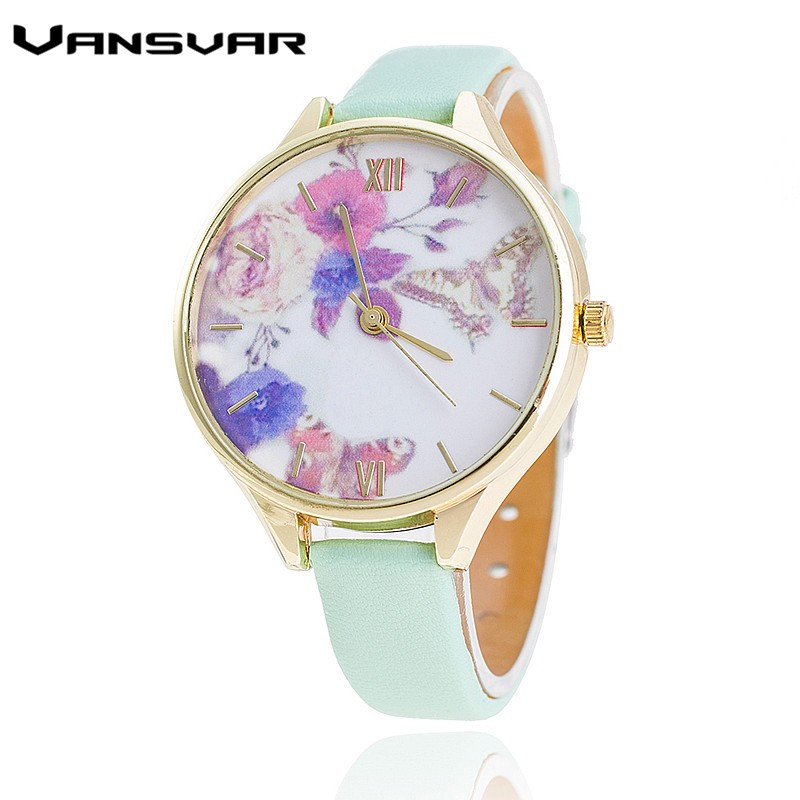 Vansvar Brand Leather Strap Women Quartz Watch Fashion Flower Watch Casual Watches Relogio Feminino reebok reebok re160cufsr78
