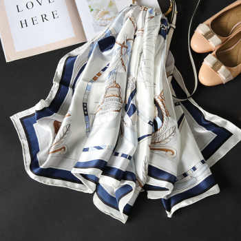 18m/m Twill Silk Scarf Women Luxury Brand Designer Square Summer Scarf Sailboat Handmade Hemming Scarves Shawl Wrap 140*140cm - DISCOUNT ITEM  30% OFF All Category