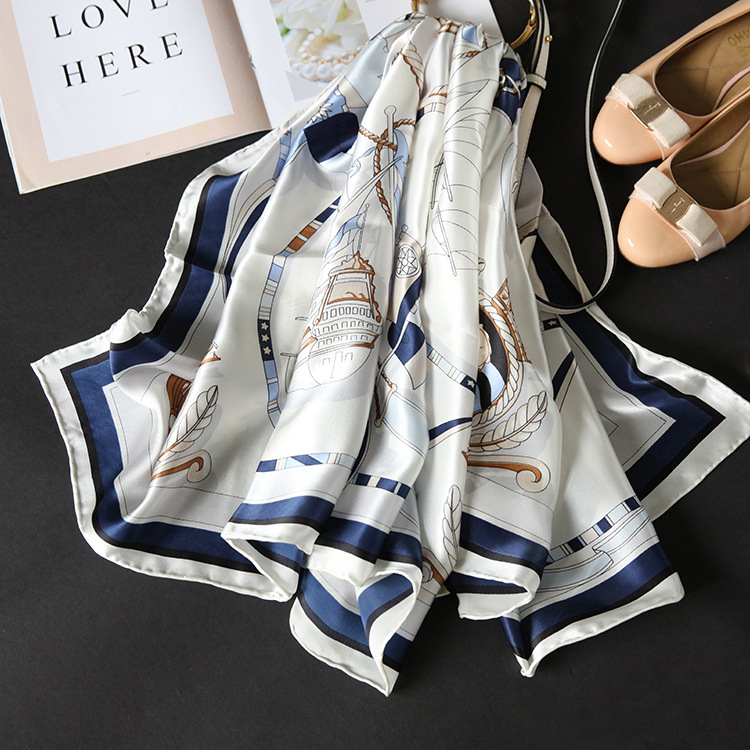 18m/m Twill Silk   Scarf   Women Luxury Brand Designer Square Summer   Scarf   Sailboat Handmade Hemming   Scarves   Shawl   Wrap   140*140cm