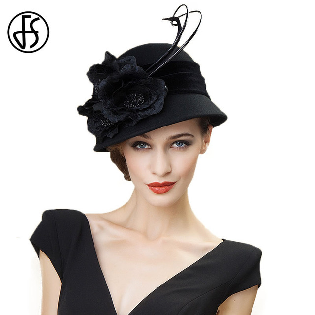 c4a99bdaf30 FS Vintage 100% Wool Church Hat Black Fuchsia Autumn Winter Fedora Ladies  Women Wide Brim Floral Felt Party Cloche Hats