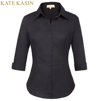 Female Blouse Women Elegant Cotton Buttons 3 4 Sleeve Shirts White Black Turn Down Collar Wear