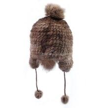 Шляпа тюрбан женский зимний мех кролика hat трикотажные шапки шляпа женские зимние тепловой трикотажные ухо протектор крышка шапочки