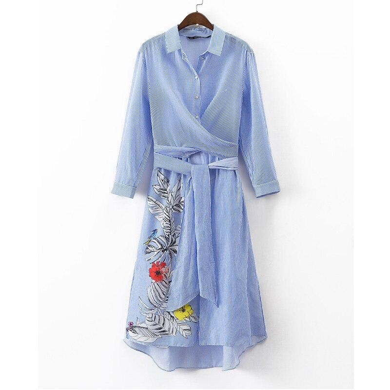 Cp de la túnica a rayas con estampado floral vestidos de las mujeres 2017 camisa
