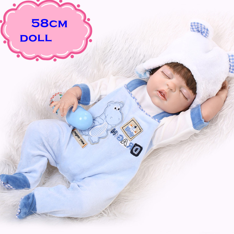 Best Gift Brinquedos 22inch/58cm Sleeping Full Silicone Vinyl Reborn Baby Doll Toys For Girls With Lovely Blue Clothes For Dolls 22 inch 55cm reborn baby silicone vinyl dolls handmade realistic lovely baby brinquedos accompany sleeping toys novelty gifts