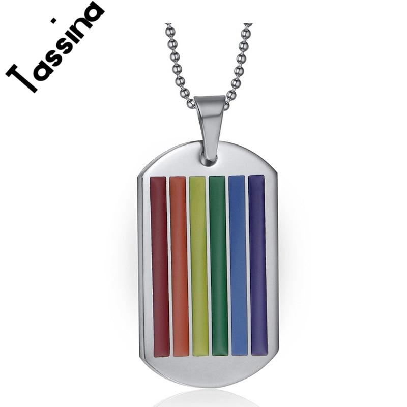 Tassina acero inoxidable LGBT colgante collar rayado arco iris - Bisutería